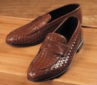 Nettleton Long Vamp Woven Loafer in Tan, Size 42 (US 9)