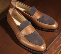 The Charleston Loafer in Tan Pebble Grain with Chocolate Suede