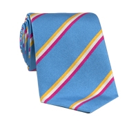 Silk Woven Striped Tie in Sky