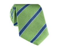 Silk Stripe Tie in Fern, Navy, Sky