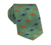 Jacquard Woven Dinosaur Motif Tie in Mint