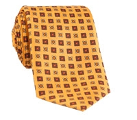 Silk Print Tie with Square Motifs in Gold