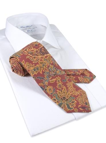 Silk Floral Printed Tie in Rust