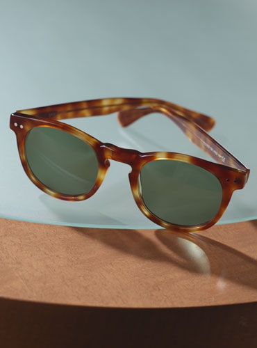 Semi-round Sunglass in Amber with Green Lenses