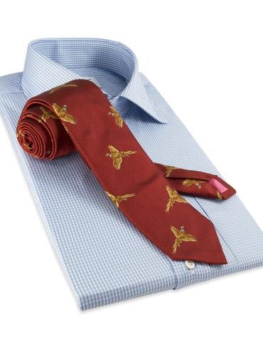 Silk Woven Pheasant in Flight Tie in Terracotta