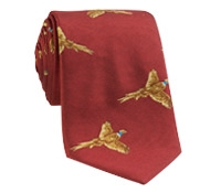 Silk Woven Pheasant in Flight Tie in Terracotta