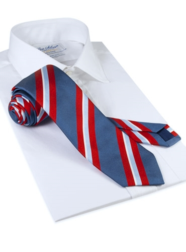 Silk Woven Multi-Stripe Tie in Denim