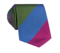 Silk Stripe Tie in Orchid, Fern and Cornflower