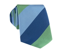 Mogador Block Stripe Tie in Mint, Denim and Sky