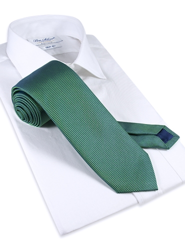 Silk Basketweave Tie in Grass