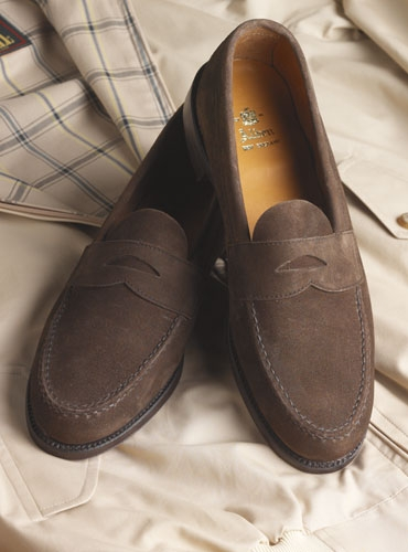 The Alden Penny Loafer in Dark Brown Suede