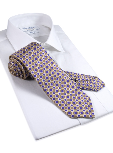 Silk Diamond Printed Tie in Sand