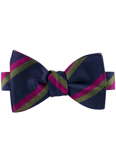 Silk Multi-Color Double Stripe Bow Tie in Navy