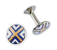 Blue, Yellow, and White Cross Cufflinks
