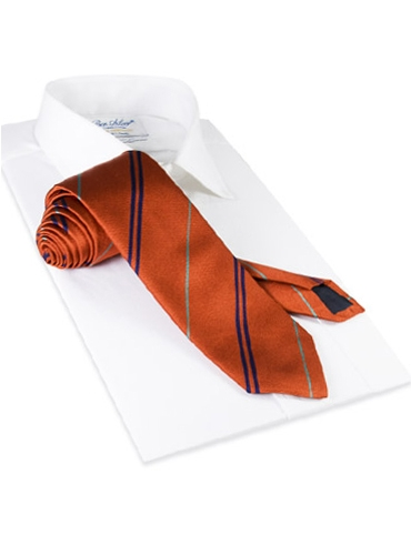 Multi-Stripe Silk Tie in Henna With Royal