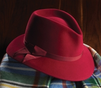 Felt Fedora Hat in Red