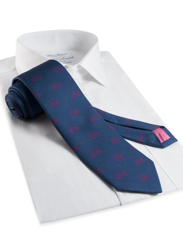 Silk Print Bicycle Motif Tie in Regal with Azalea