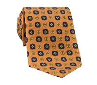 Silk Flower Motif Tie in Saffron