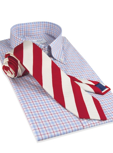 Mogador Silk Stripe Tie in Red