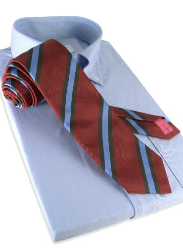 Mogador Silk Stripe Tie in Terracotta