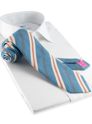 Mogador Stripe Tie in Marine