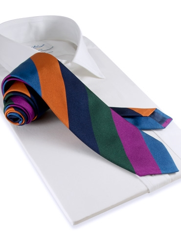 Silk Woven Block Stripe Tie in Cornflower, Magenta, Forest and Saffron