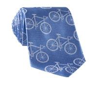 Silk Woven Bike Motif Tie in Sky