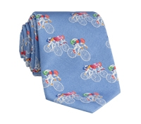 Jacquard Woven Bicyclist Tie in Sky