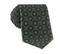 Silk Printed Madder Tie With Tile Motif in Forest