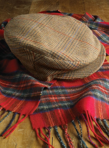 Wool Plaid Cap in Tan, Olive, Red & Blue