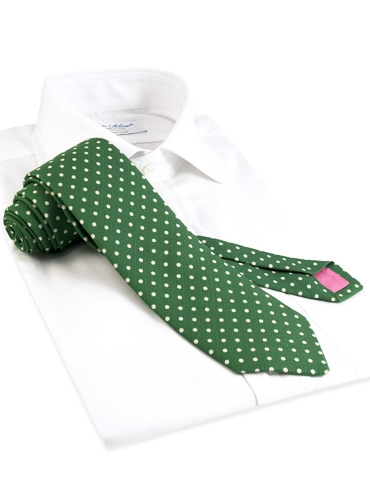 Cotton Print Dot Tie in Malachite