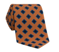 Wool Diamond Printed Tie in Marigold