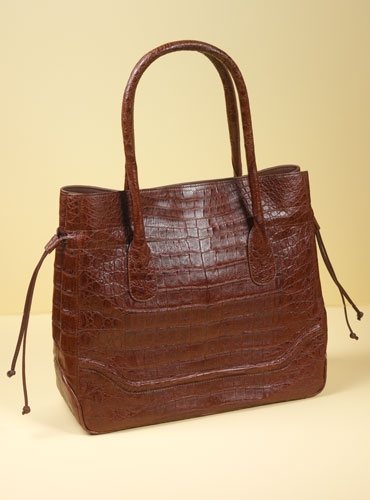 Caiman Crocodile Tote in Cigar Brown