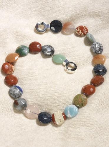 Single Strand Multicolor Semi-Precious Stone Coin Shape Beads