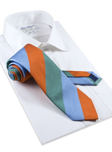 Silk Block Stripe Tie in Teal, Tangerine, and Sky