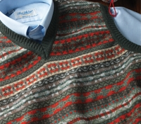 Lambswool Fair Isle Sweater Vest in Forest