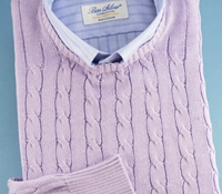 Cotton Cable Knit Crewneck Sweater in Lavender