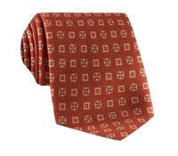 Wool & Silk Printed Neat Tie in Rust