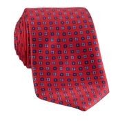 Silk Print Small Flower Tie in Red