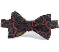 Wool Print Paisley Bow in Henna