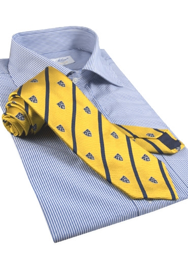 Silk Woven Club Tie in Saffron