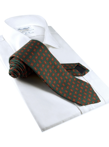 Silk Madder Print Tie with Tossed Square Motif in Forest