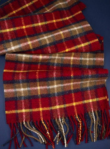 Wool and Cashmere Check Scarf in Red