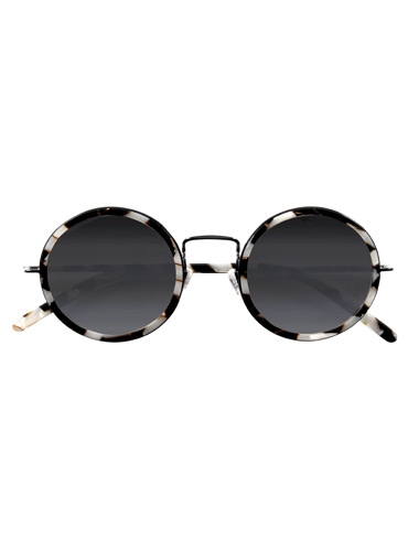 Lafont Retro Round Sunglasses in Black and White Mosaic