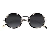 Lafont Retro Round Sunglasses in Black and White Mosaic