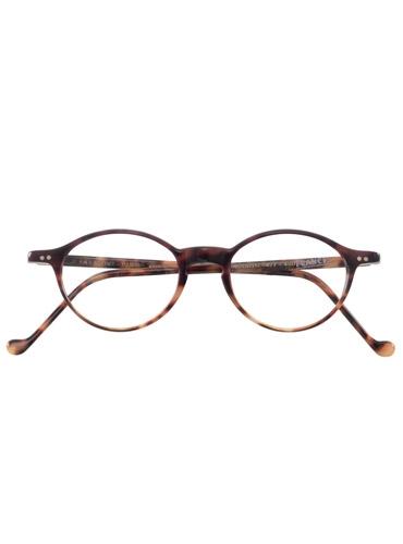 Lafont Slim Oval Frames in Plum Tortoise