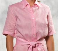 Pink Linen Shirt Dress