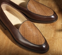 The Bentley Slip On in Brown Leather with Woven Upper