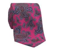 Silk Print Paisley Tie in Azalea