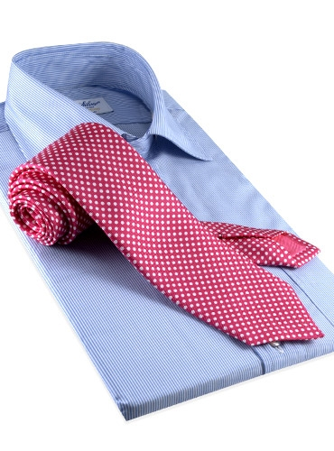Silk Print Dot Motif Tie in Fuchsia
